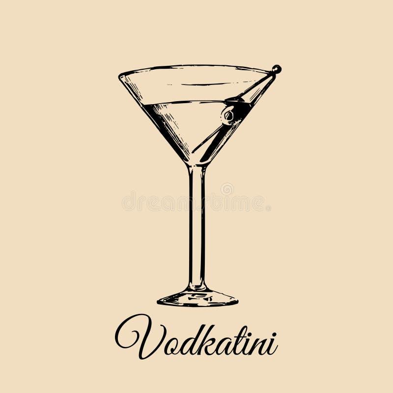Vidrio de Vodkatini aislado Dé el bosquejo exhausto del cóctel tradicional con la aceituna para el restaurante, barra, diseño del ilustración del vector