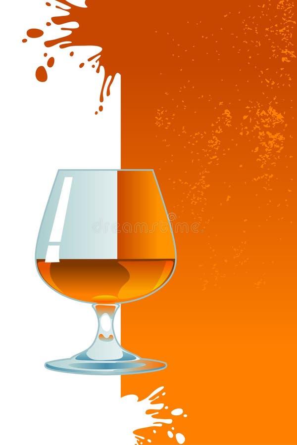 Vidrio de whisky con hielo. stock de ilustración