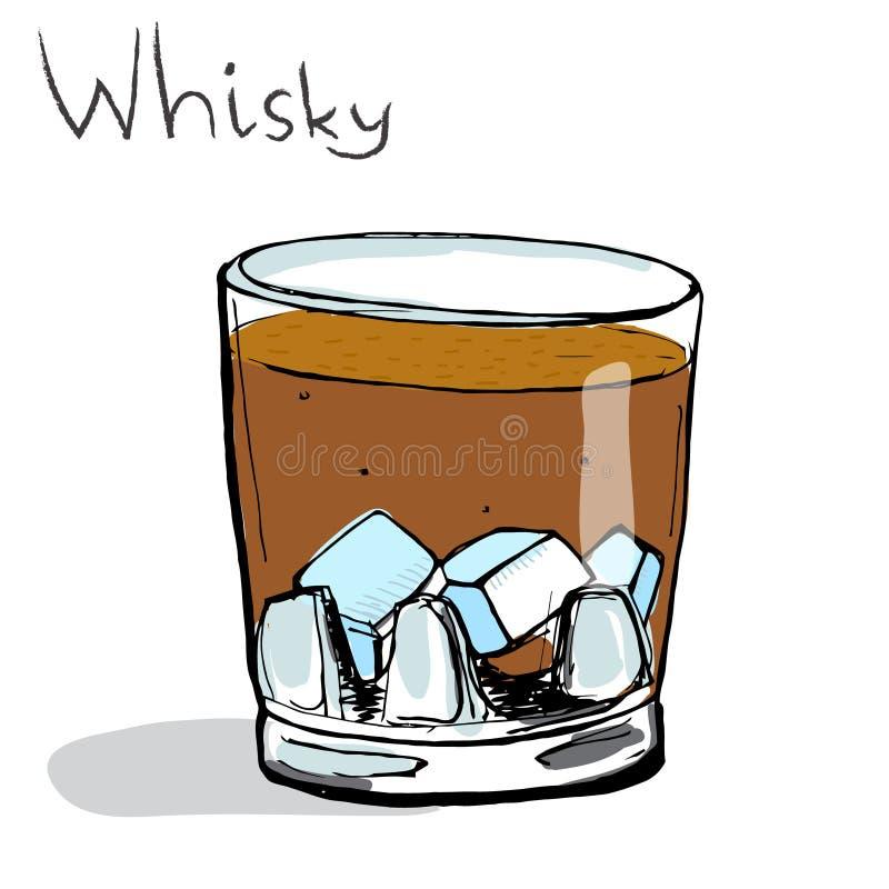 Vidrio de whisky con hielo Vector coloreado libre illustration