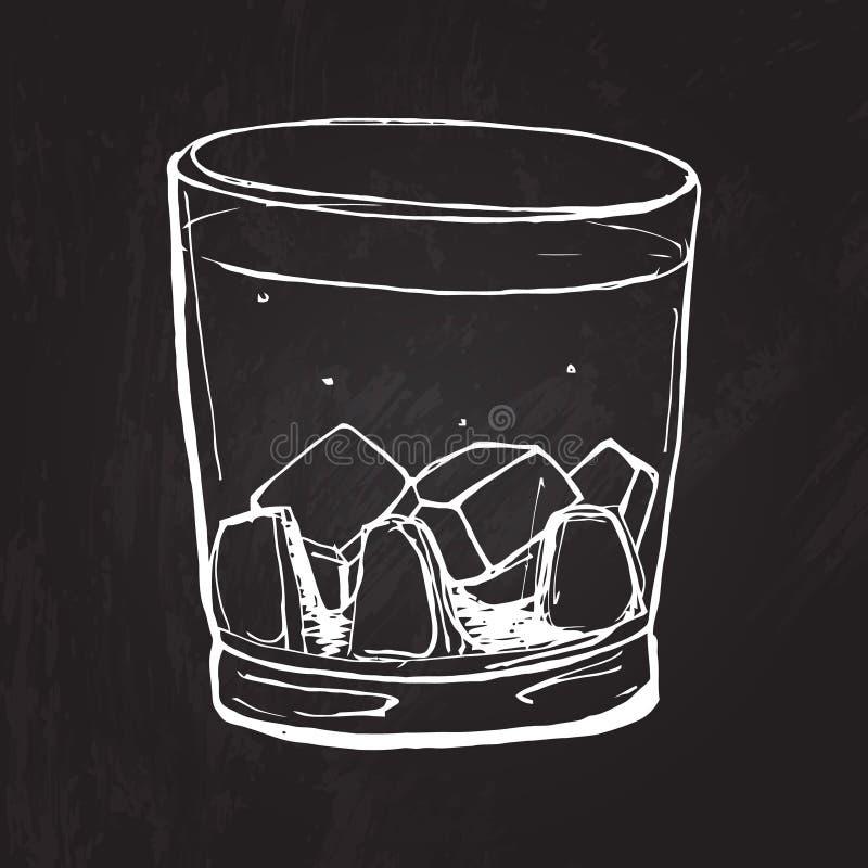 Vidrio de whisky El vector bosquejó el ejemplo en ilustración del vector