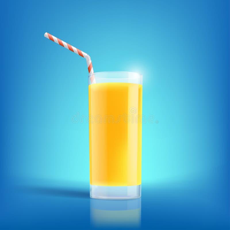 Vidrio de zumo de naranja recientemente exprimido Bebida con las vitaminas ilustración del vector