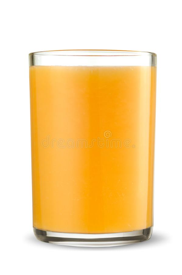 Vidrio de zumo de naranja fresco aislado en el fondo blanco foto de archivo libre de regalías