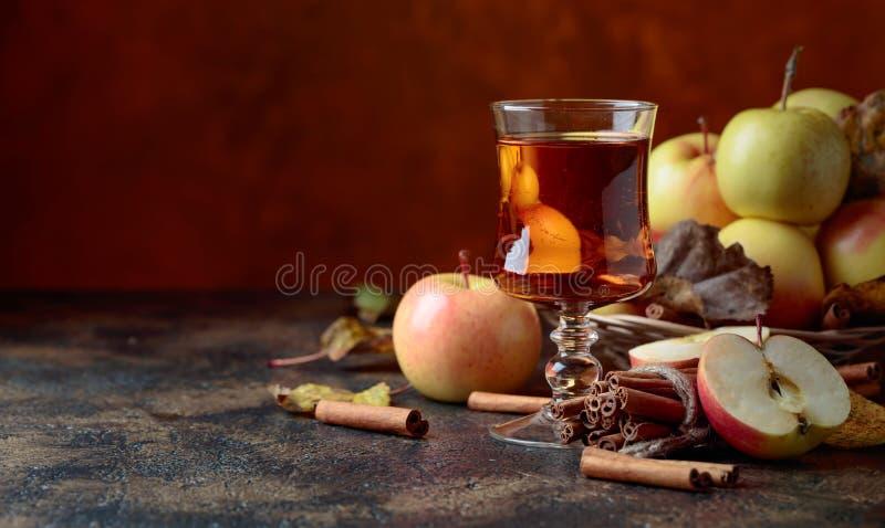 Vidrio de zumo o de sidra de manzana con las manzanas y los palillos de canela jugosos foto de archivo libre de regalías
