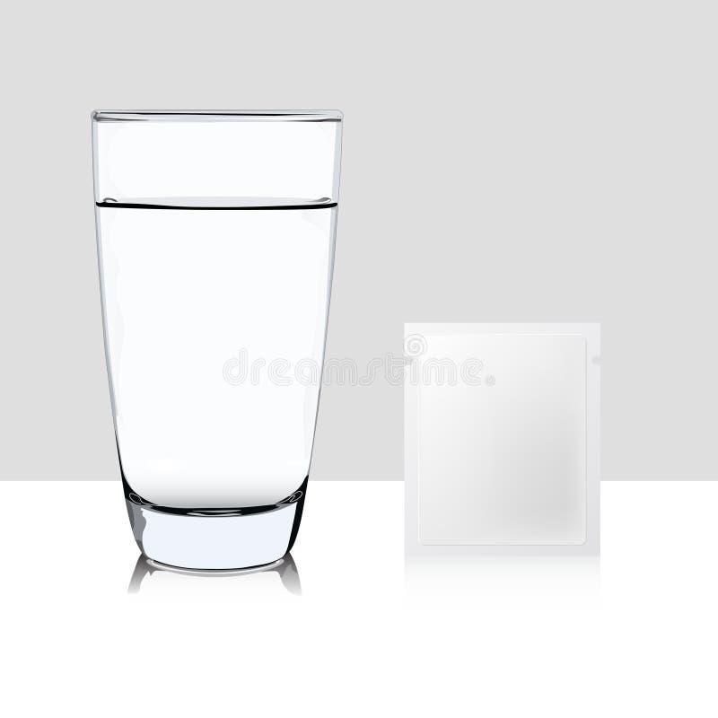 Vidrio del agua y del bolsillo de medicina aislados en el backgrou blanco stock de ilustración
