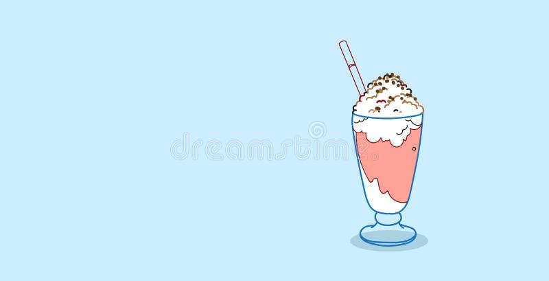 Vidrio del batido de leche con horizontal exhausto azotada del postre de la comida del concepto de la mano dulce poner crema del  libre illustration