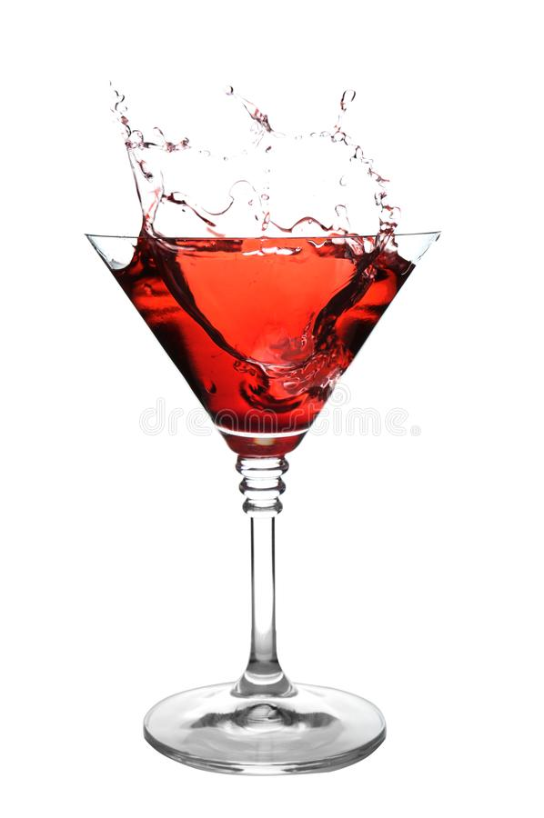 Vidrio del cóctel de martini con el chapoteo foto de archivo libre de regalías