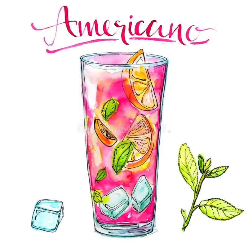 Vidrio del cóctel del americano con la menta, naranja y ilustración del vector