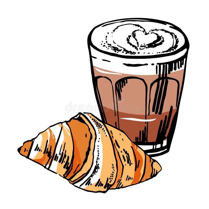 Vidrio del café y del cruasán Ejemplo exhausto del vector del bosquejo del esquema de la mano con los terraplenes de color stock de ilustración