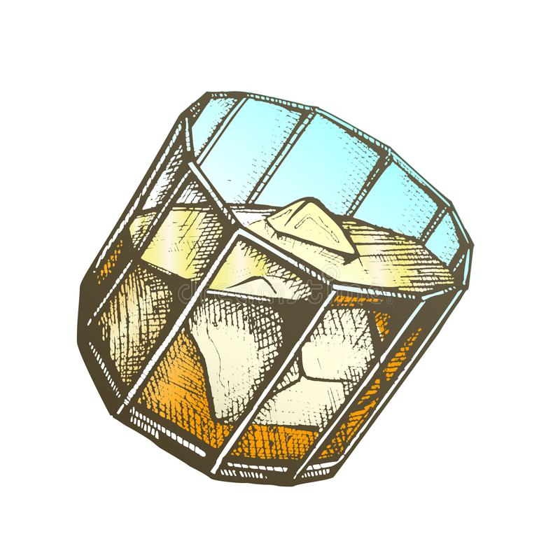 Vidrio del diseño del color con vector de los cubos de Borbón y de hielo libre illustration