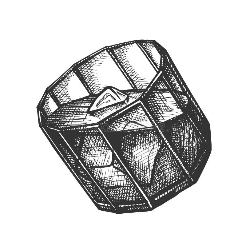 Vidrio del diseño con vector de los cubos de Borbón y de hielo ilustración del vector