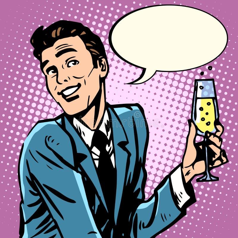 Vidrio del hombre de champán ilustración del vector