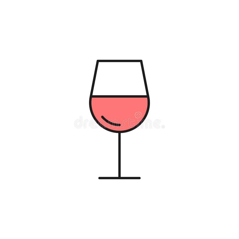 vidrio del icono coloreado vino del esquema Elemento del icono de la comida para los apps móviles del concepto y del web La línea libre illustration