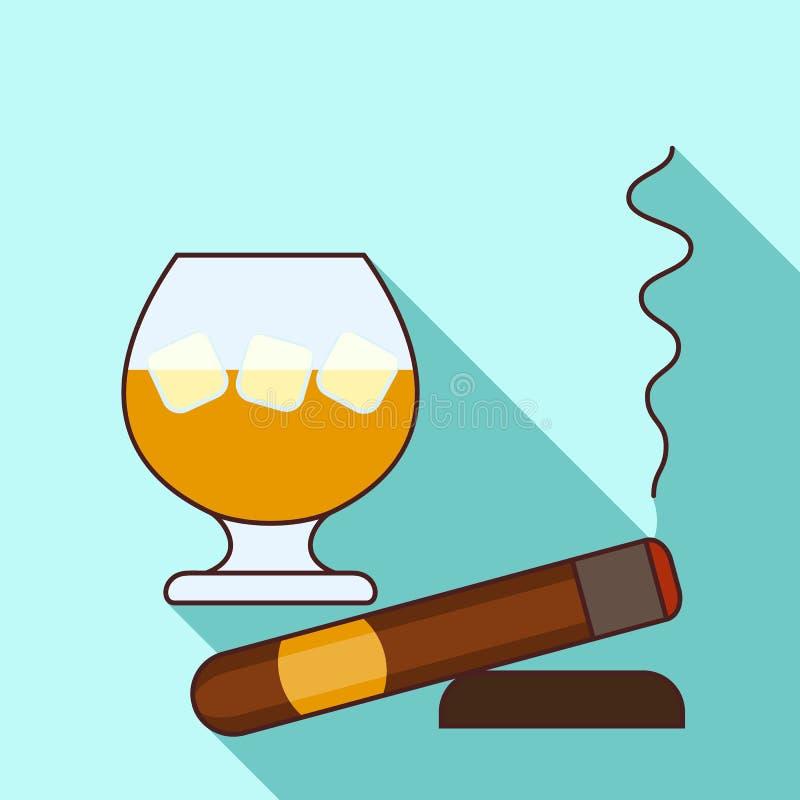 Vidrio del icono del whisky, estilo plano stock de ilustración
