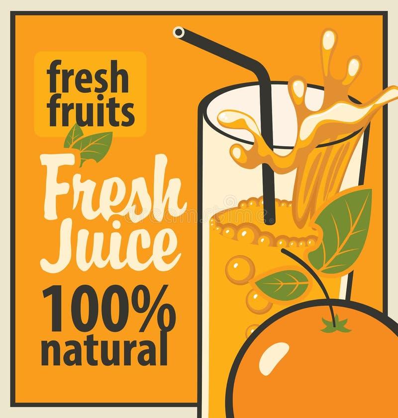 Vidrio del jugo y de la naranja frescos ilustración del vector