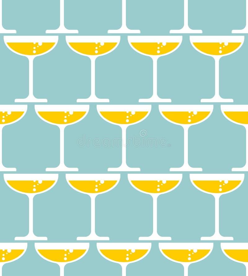 Vidrio del modelo inconsútil del champán Alcohol en el fondo de cristal stock de ilustración