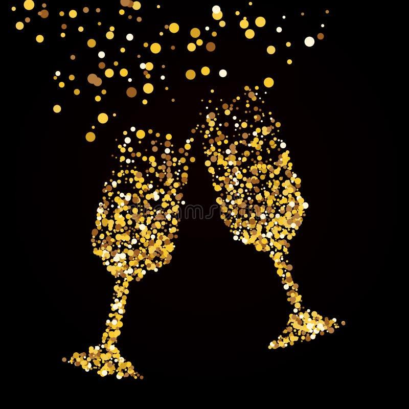 Vidrio dorado con champán. Un fondo negro stock de ilustración