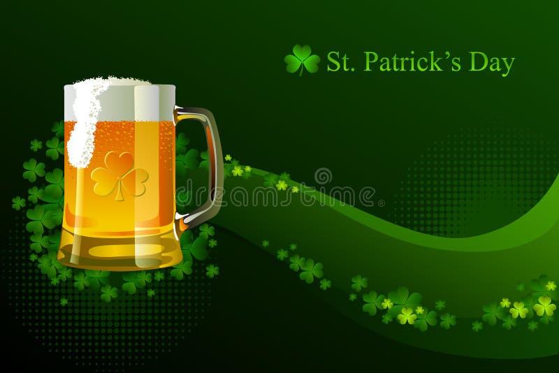 Vidrio escarchado de cerveza ligera para el día del St Patrick stock de ilustración