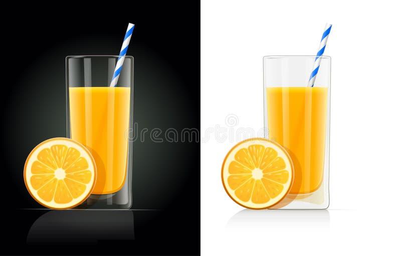 Vidrio fresco del zumo de naranja con el tubo stock de ilustración