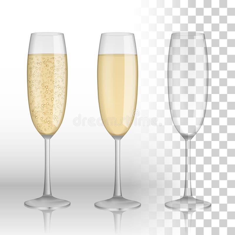 Vidrio lleno y vacío de champán y de vino blanco en un fondo transparente Vidrio del vector Día de fiesta feliz ilustración del vector