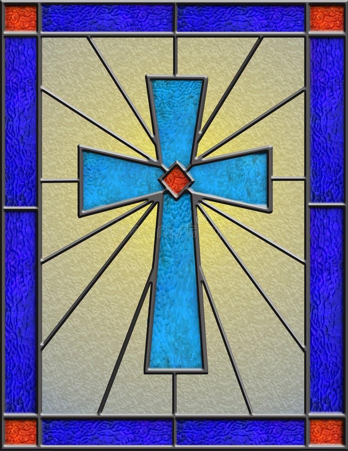 Vidrio manchado realista de la cruz céltica libre illustration