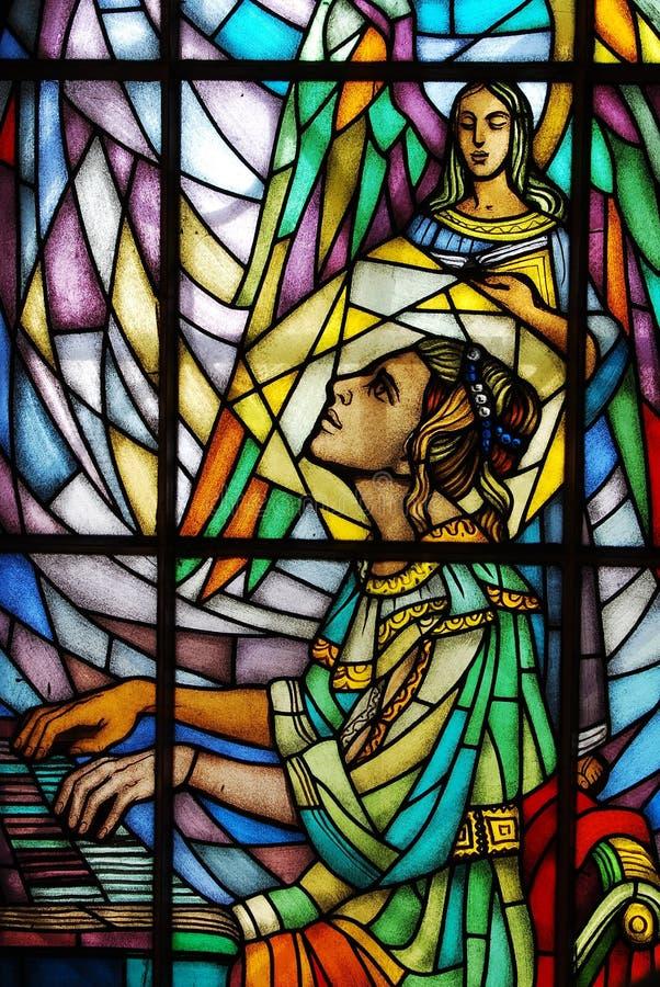 Vidrio manchado - St. Cecilia fotografía de archivo