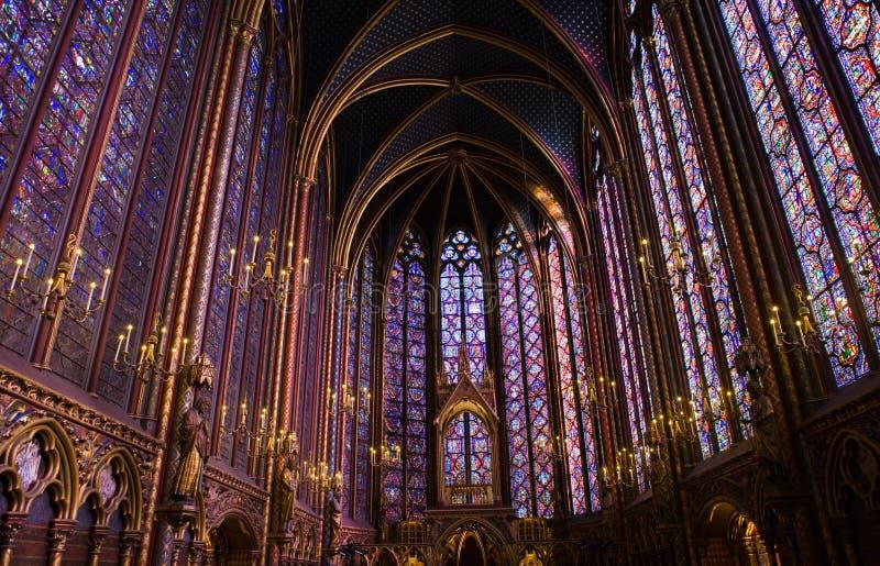 Vidrio manchado Windows de la capilla de Sainte-Chapelle del La imagen de archivo libre de regalías