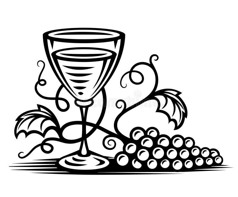 Vidrio negro con el sauce del vino y de la vid stock de ilustración