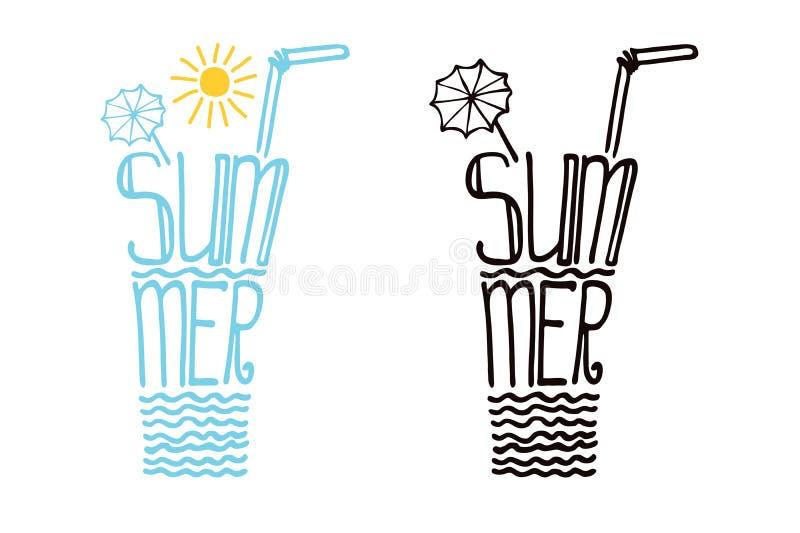 Vidrio a partir del verano de las palabras Sistema del diseño de la tipografía ilustración del vector