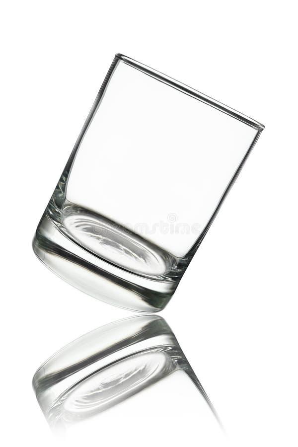 vidrio pasado de moda o de la roca vacío con la reflexión aislado en wh imagen de archivo libre de regalías