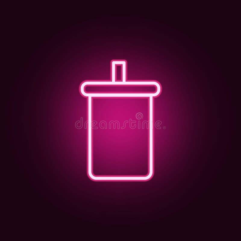 vidrio plástico con el icono de la soda Elementos de la web en los iconos de neón del estilo Icono simple para las páginas web, d stock de ilustración