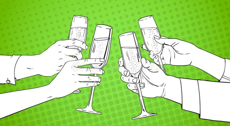 Vidrio que tintinea bosquejado del grupo de las manos de Champagne Wine Toasting Pop Art Pin Up Background retro stock de ilustración