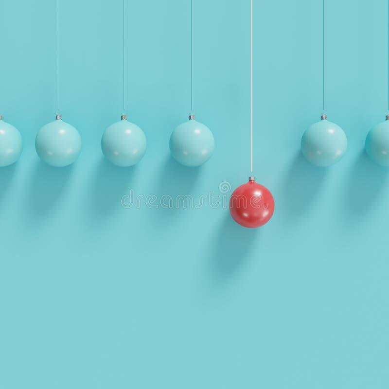 Vidrio rojo excepcional del mercurio entre los ornamentos azules de la Navidad de los vidrios del mercurio en fondo azul stock de ilustración