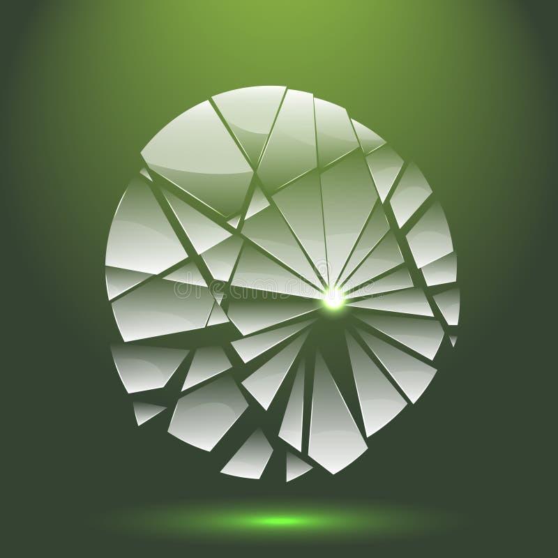 Vidrio transparente quebrado con la adaptación al fondo ilustración del vector