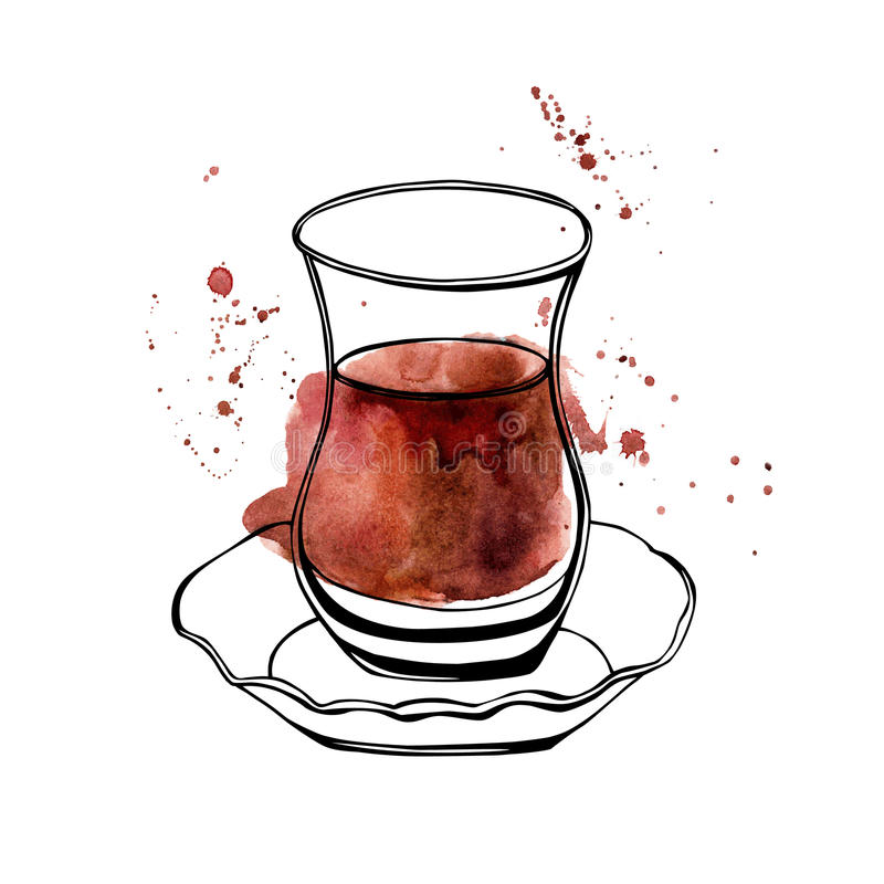Vidrio turco del té de la acuarela del vector libre illustration