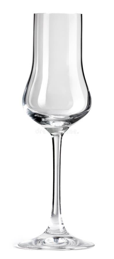 Vidrio vacío para el champán aislado en el fondo blanco con la trayectoria de recortes imagen de archivo