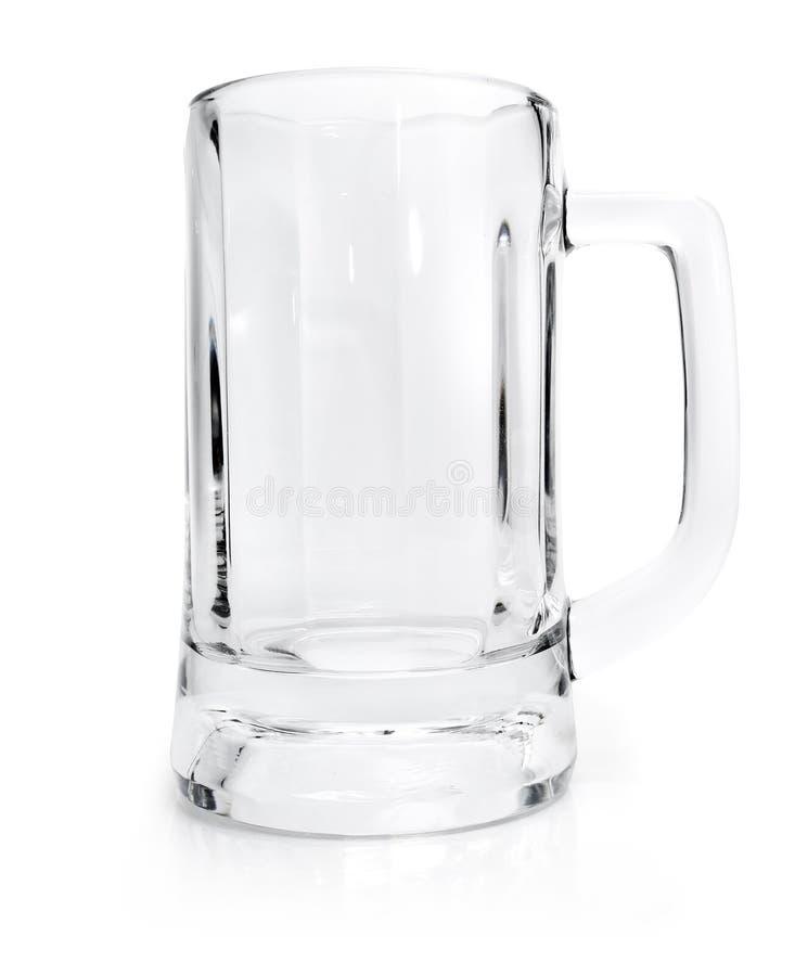 Vidrio vacío para la cerveza aislada en blanco imagenes de archivo