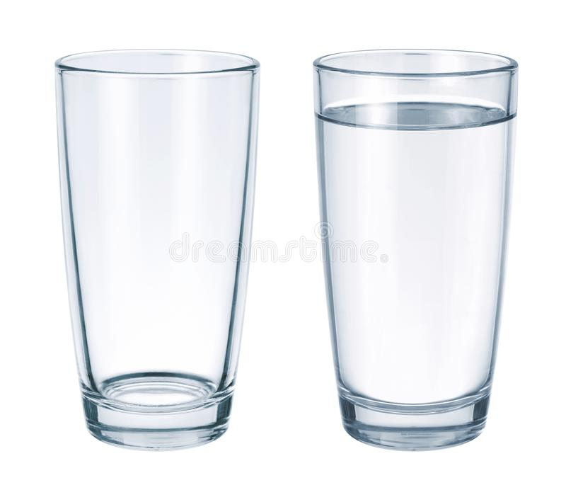 Vidrio vacío y vidrio con agua imágenes de archivo libres de regalías