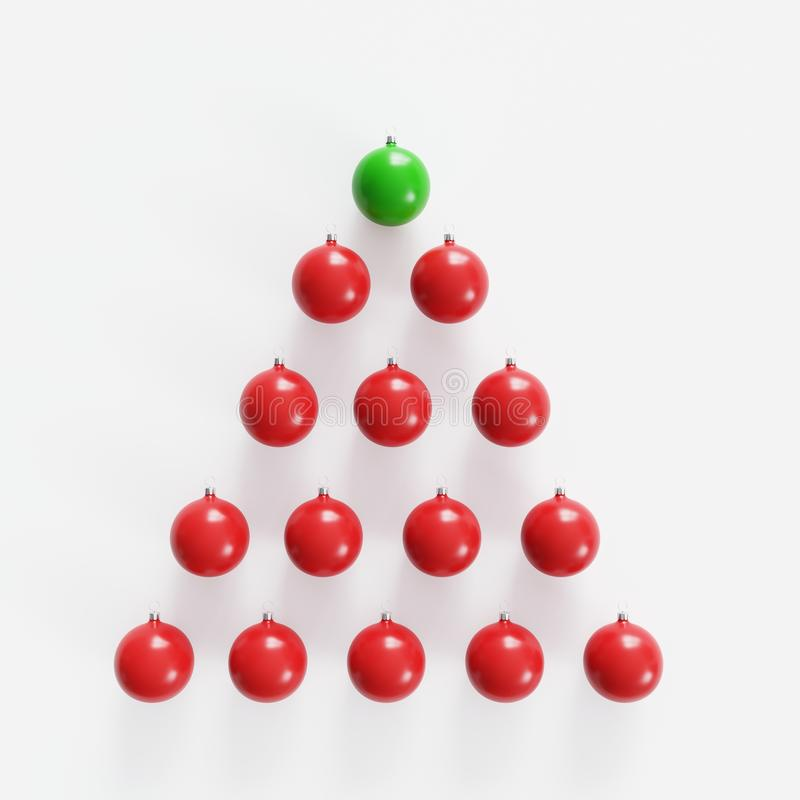 Vidrio verde excepcional del mercurio entre el ornamento rojo de la Navidad de los vidrios del mercurio en el fondo blanco libre illustration