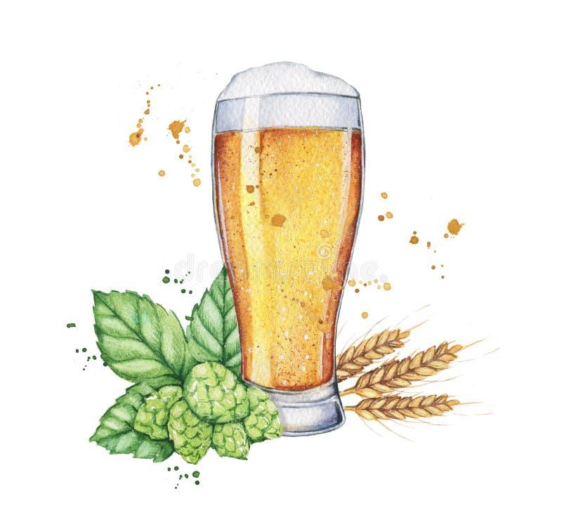 Vidrio y botella de cerveza de la acuarela ilustración del vector