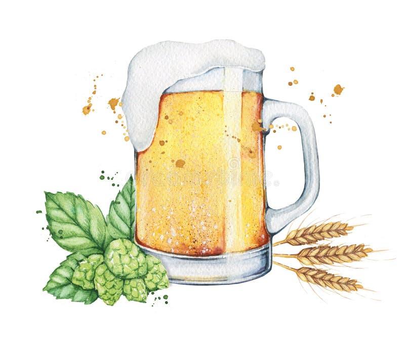 Vidrio y botella de cerveza de la acuarela libre illustration