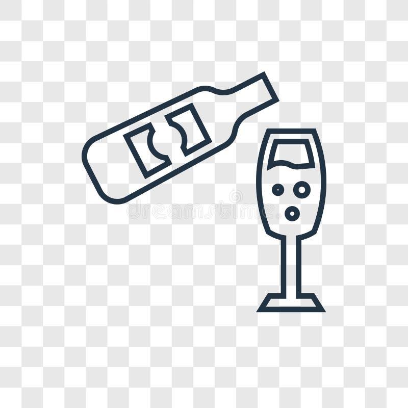 Vidrio y botella de icono linear del vector del concepto del vino aislado encendido libre illustration
