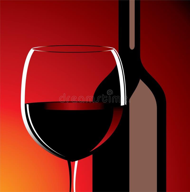 Vidrio y botella de vino stock de ilustración
