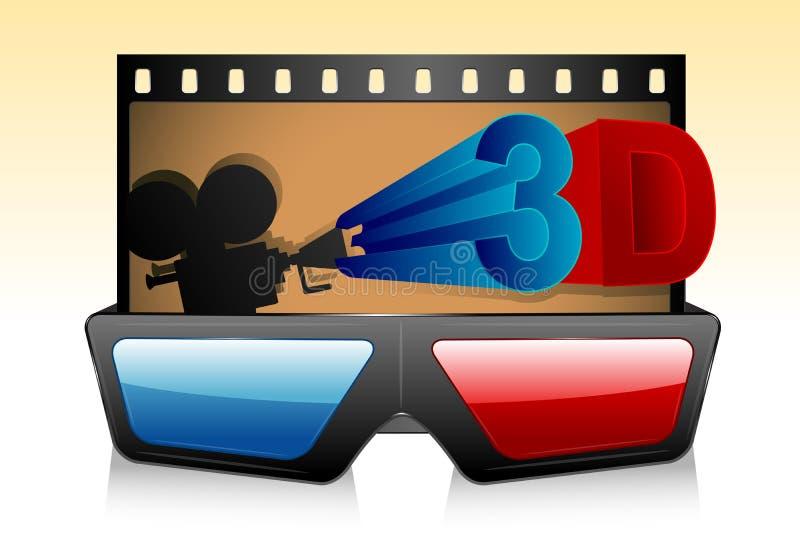 vidrios 3d con la raya de la película ilustración del vector