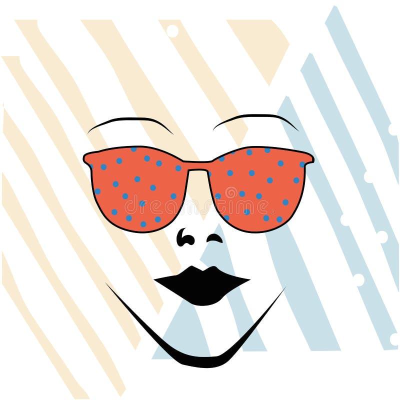 Vidrios anaranjados y una mujer ilustración del vector