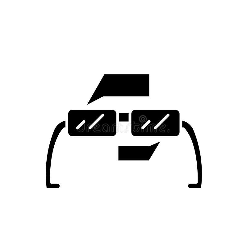 Vidrios aumentados icono negro, muestra de la realidad del vector en fondo aislado Símbolo aumentado del concepto de los vidrios  libre illustration