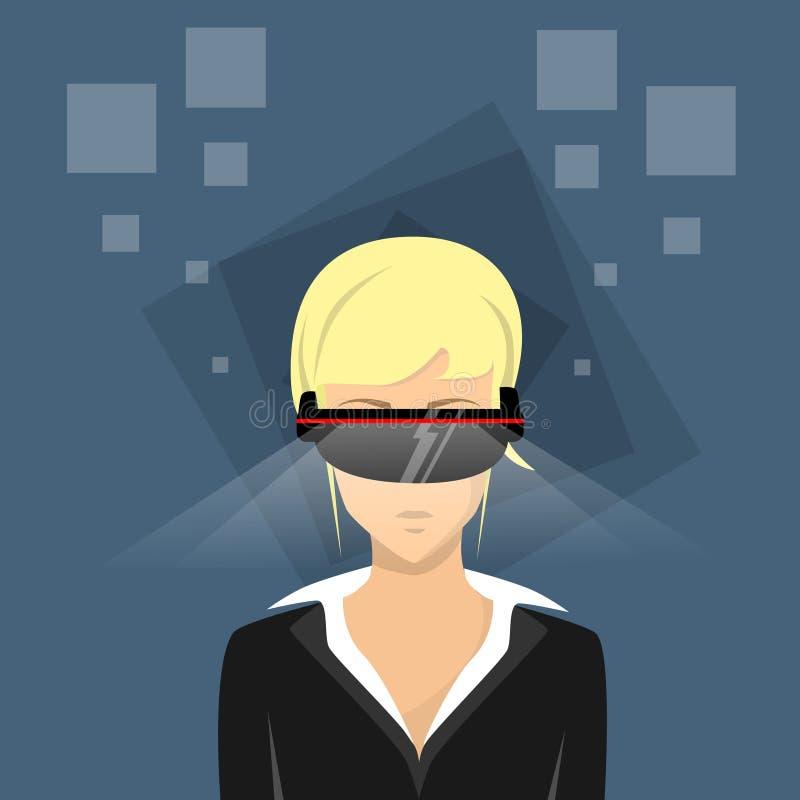 Vidrios cibernéticos de Digitaces del desgaste del videojuego del juego de la realidad virtual de la mujer de negocios libre illustration