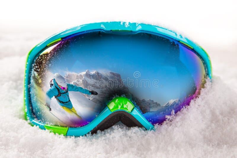 Vidrios coloridos del esquí imágenes de archivo libres de regalías