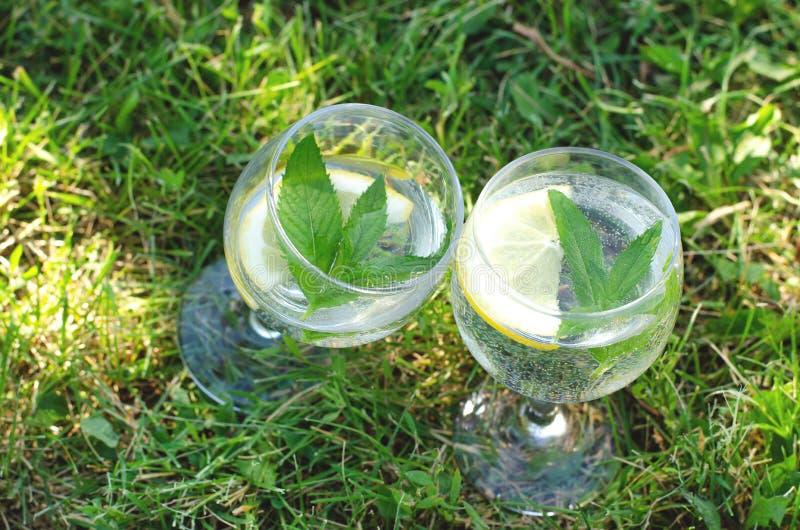 Vidrios con agua, el limón y la menta de restauración en hierba verde foto de archivo