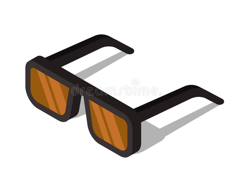 Vidrios con el vidrio marrón ilustración del vector