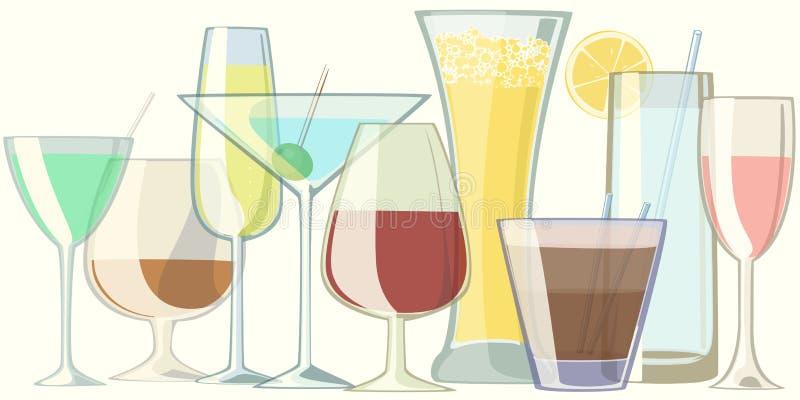 Vidrios con las bebidas ilustración del vector